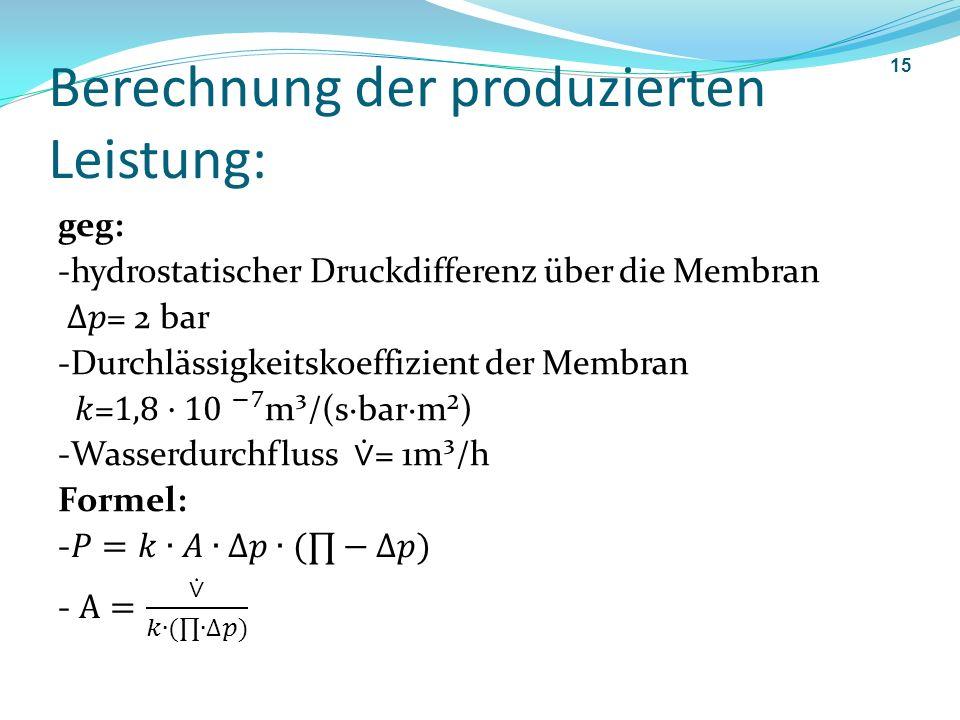 Berechnung der produzierten Leistung: 15