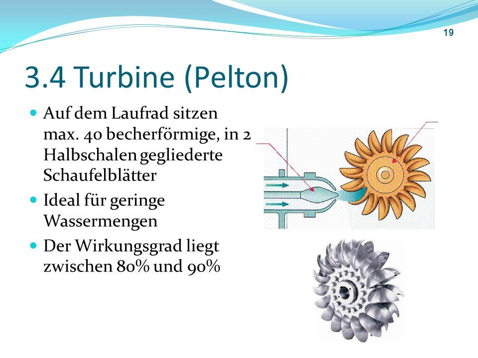 3.4 Turbine (Pelton) Auf dem Laufrad sitzen max. 40 becherförmige, in 2 Halbschalen gegliederte Schaufelblätter Ideal für geringe Wassermengen Der Wir
