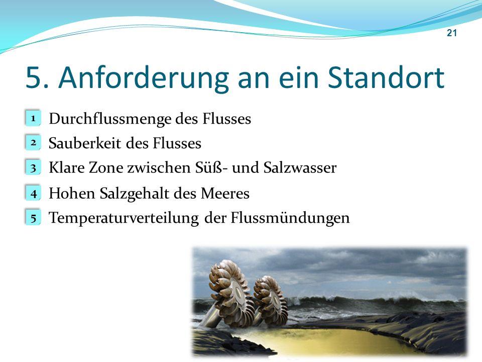 5. Anforderung an ein Standort 21 1 1 2 2 3 3 4 4 5 5 Sauberkeit des Flusses Hohen Salzgehalt des Meeres Klare Zone zwischen Süß- und Salzwasser Tempe
