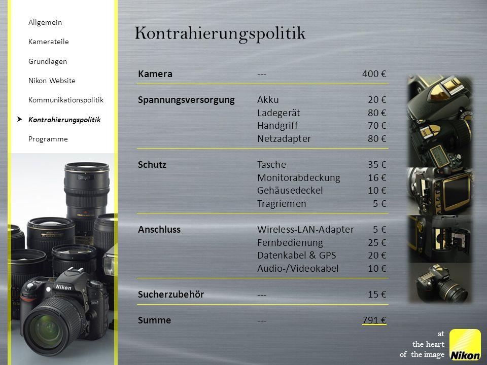 at the heart of the image Kontrahierungspolitik Kamera---400 SpannungsversorgungAkku20 Ladegerät80 Handgriff70 Netzadapter80 SchutzTasche35 Monitorabd