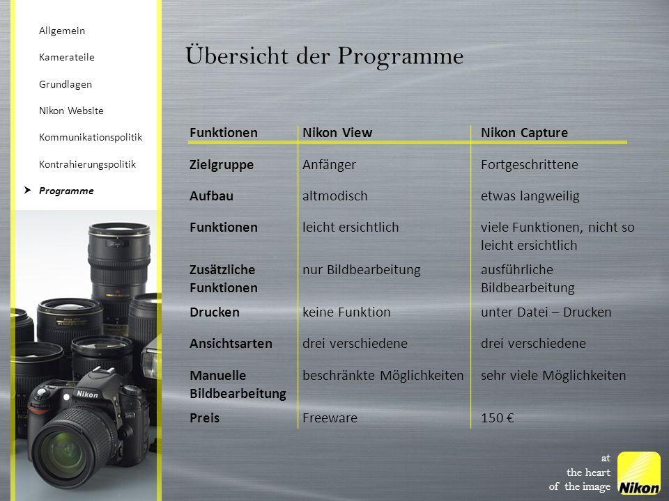 at the heart of the image Übersicht der Programme FunktionenNikon ViewNikon Capture ZielgruppeAnfängerFortgeschrittene Aufbaualtmodischetwas langweili
