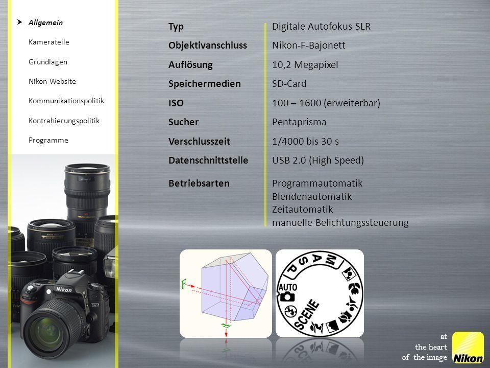 TypDigitale Autofokus SLR ObjektivanschlussNikon-F-Bajonett Auflösung10,2 Megapixel SpeichermedienSD-Card ISO100 – 1600 (erweiterbar) SucherPentaprism