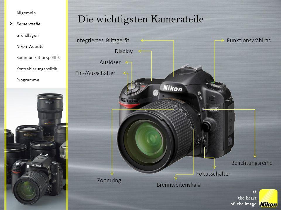 at the heart of the image Die wichtigsten Kamerateile Integriertes Blitzgerät Display Auslöser Ein-/Ausschalter Funktionswählrad Zoomring Fokusschalte