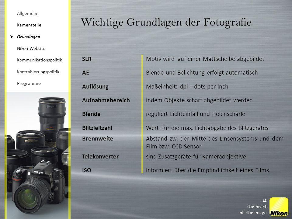 Wichtige Grundlagen der Fotografie SLRMotiv wird auf einer Mattscheibe abgebildet AEBlende und Belichtung erfolgt automatisch AuflösungMaßeinheit: dpi