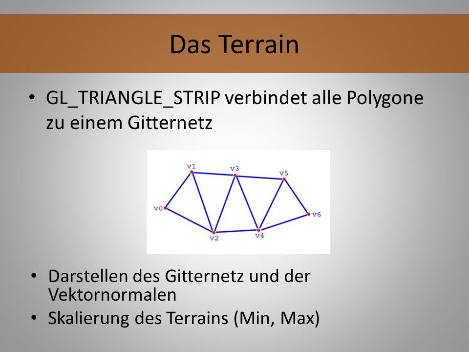 GL_TRIANGLE_STRIP verbindet alle Polygone zu einem Gitternetz Das Terrain Darstellen des Gitternetz und der Vektornormalen Skalierung des Terrains (Mi