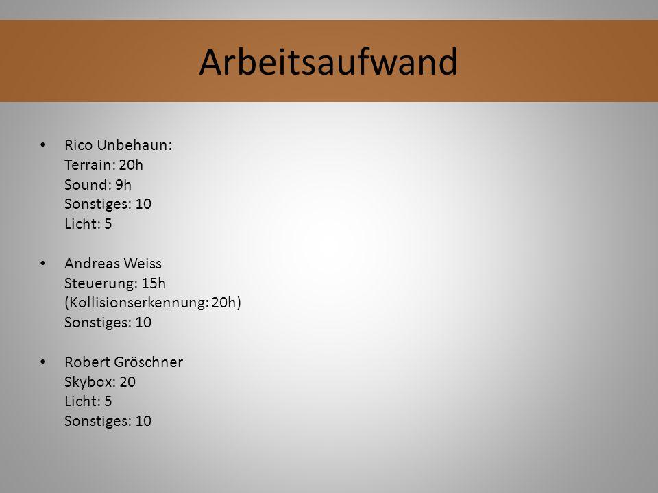 Rico Unbehaun: Terrain: 20h Sound: 9h Sonstiges: 10 Licht: 5 Andreas Weiss Steuerung: 15h (Kollisionserkennung: 20h) Sonstiges: 10 Robert Gröschner Sk