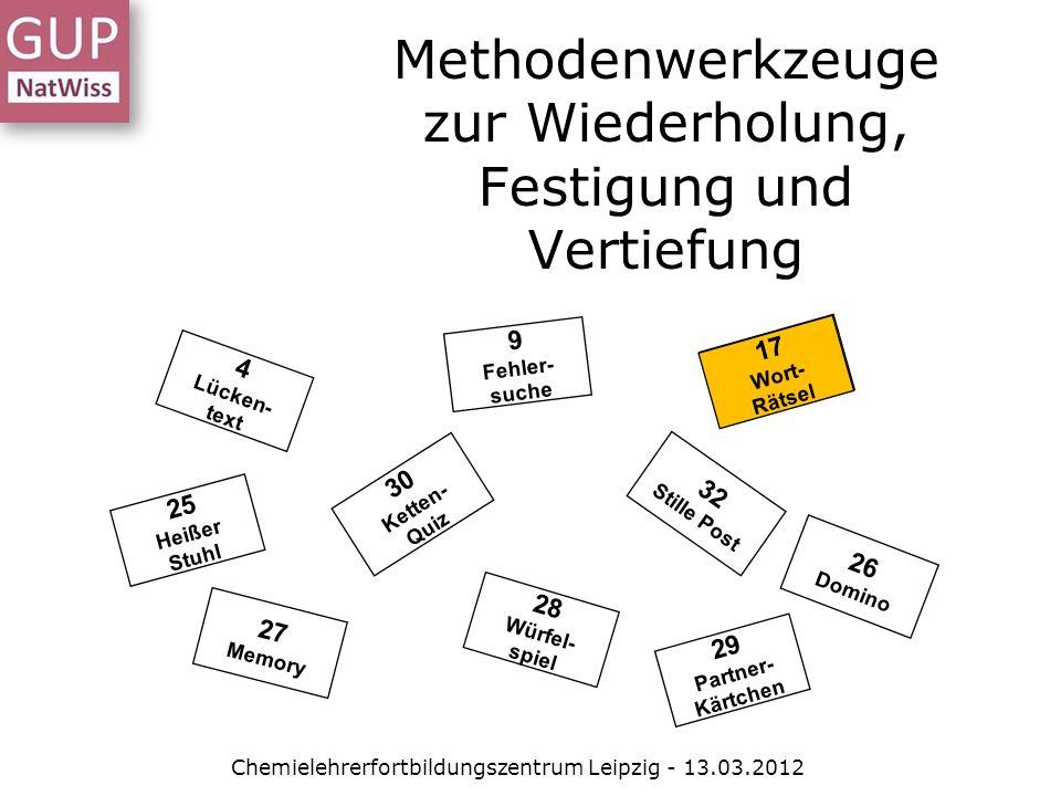Methodenwerkzeuge zur Wiederholung, Festigung und Vertiefung 30 Ketten- Quiz 32 Stille Post 25 Heißer Stuhl 4 Lücken- text 9 Fehler- suche 17 Wort- Rätsel 26 Domino 27 Memory 28 Würfel- spiel 29 Partner- Kärtchen 17 Wort- Rätsel Chemielehrerfortbildungszentrum Leipzig - 13.03.2012