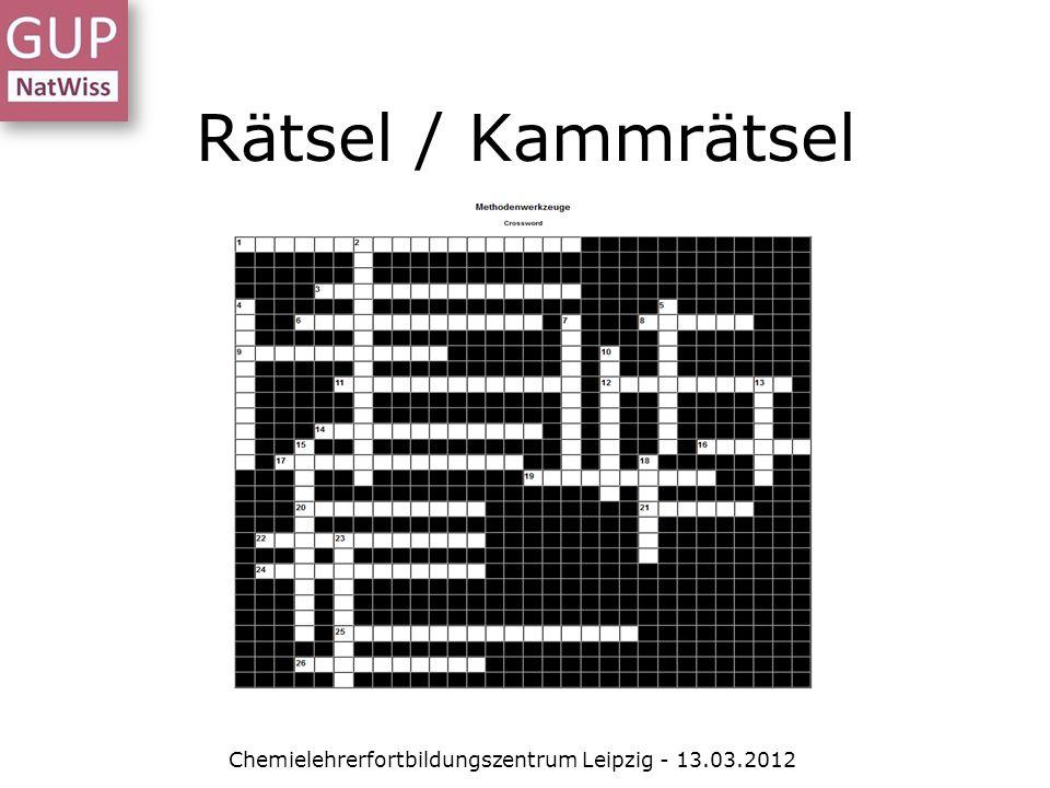 Rätsel / Kammrätsel Chemielehrerfortbildungszentrum Leipzig - 13.03.2012