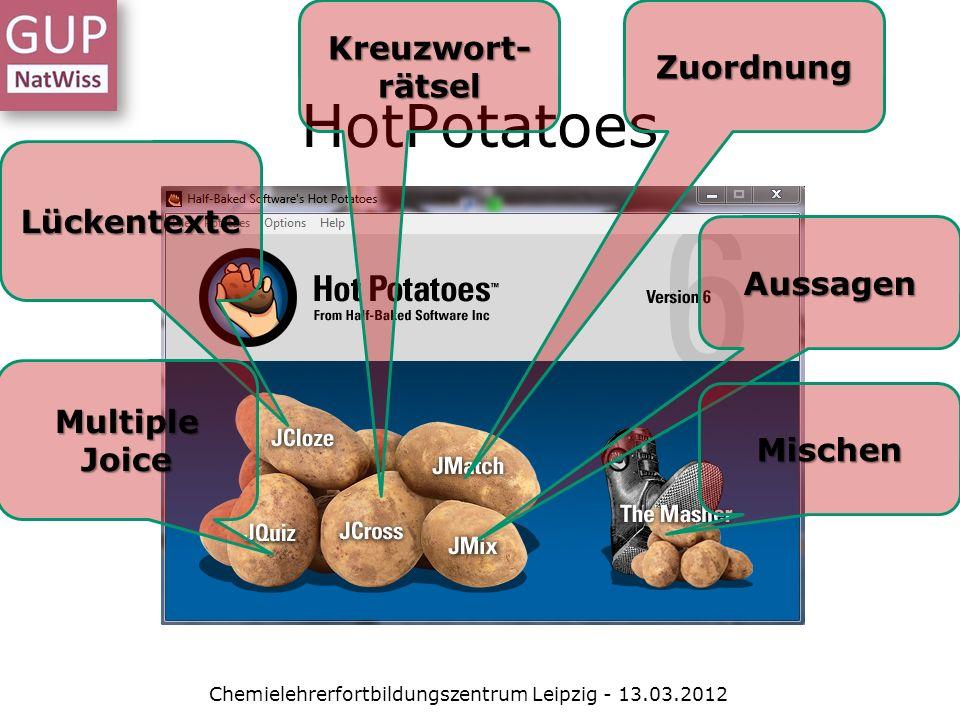 HotPotatoes Chemielehrerfortbildungszentrum Leipzig - 13.03.2012 Lückentexte Multiple Joice Kreuzwort- rätsel Zuordnung Aussagen Mischen