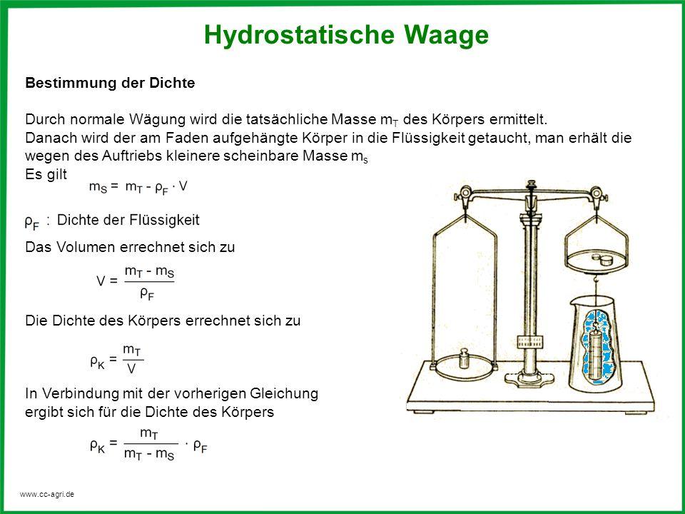 www.cc-agri.de Hydrostatische Waage Bestimmung der Dichte Durch normale Wägung wird die tatsächliche Masse m T des Körpers ermittelt. Danach wird der
