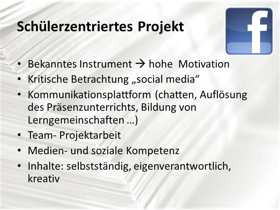 Schülerzentriertes Projekt Bekanntes Instrument hohe Motivation Kritische Betrachtung social media Kommunikationsplattform (chatten, Auflösung des Präsenzunterrichts, Bildung von Lerngemeinschaften …) Team- Projektarbeit Medien- und soziale Kompetenz Inhalte: selbstständig, eigenverantwortlich, kreativ