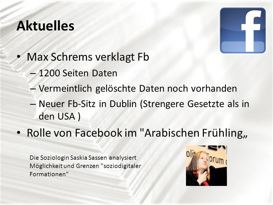 Weiterführende Projekte WAGA goes facebook (Wassermanngasse) Facebookseite: Inhalt facebook (Datenschutz usw.