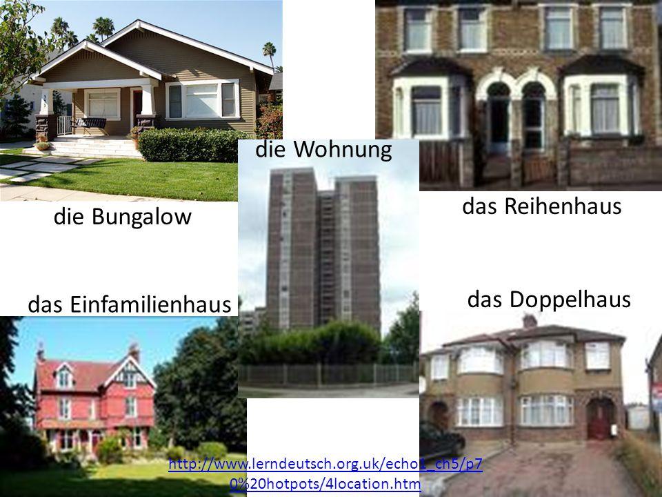 das Einfamilienhaus das Doppelhaus die Wohnung das Reihenhaus die Bungalow http://www.lerndeutsch.org.uk/echo1_ch5/p7 0%20hotpots/4location.htm
