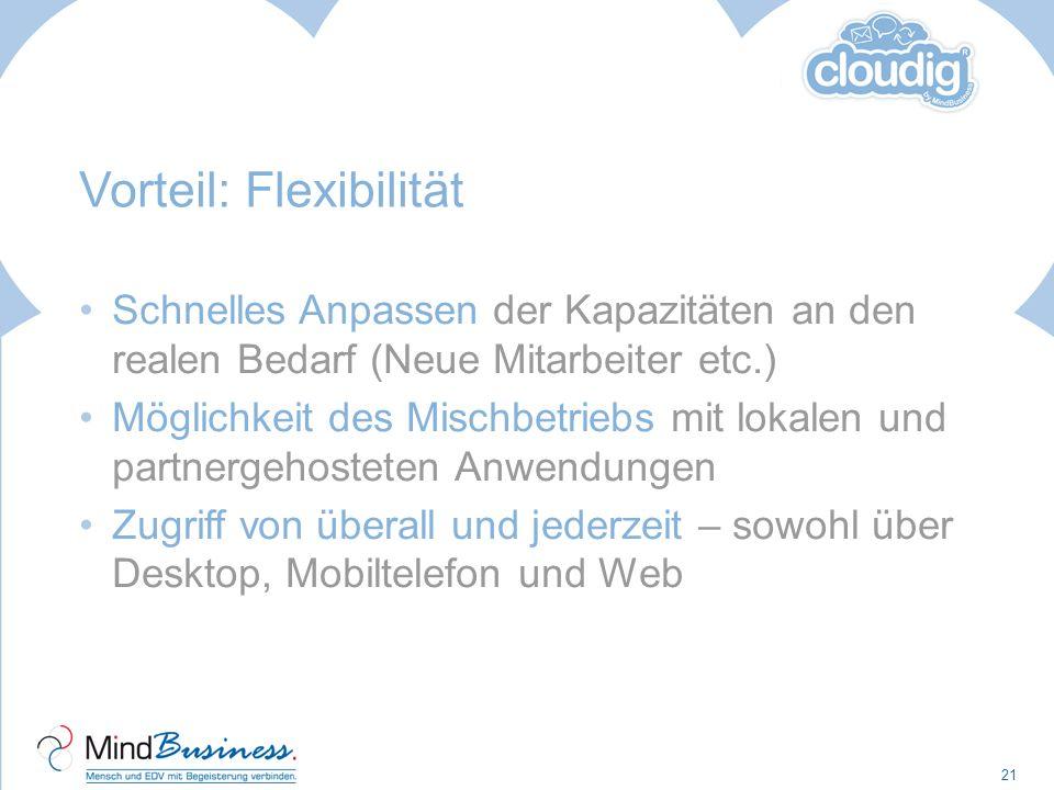 Vorteil: Flexibilität Schnelles Anpassen der Kapazitäten an den realen Bedarf (Neue Mitarbeiter etc.) Möglichkeit des Mischbetriebs mit lokalen und pa