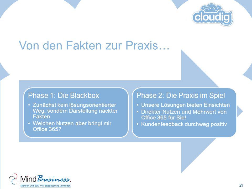 Von den Fakten zur Praxis… 29 Phase 1: Die Blackbox Zunächst kein lösungsorientierter Weg, sondern Darstellung nackter Fakten Welchen Nutzen aber brin