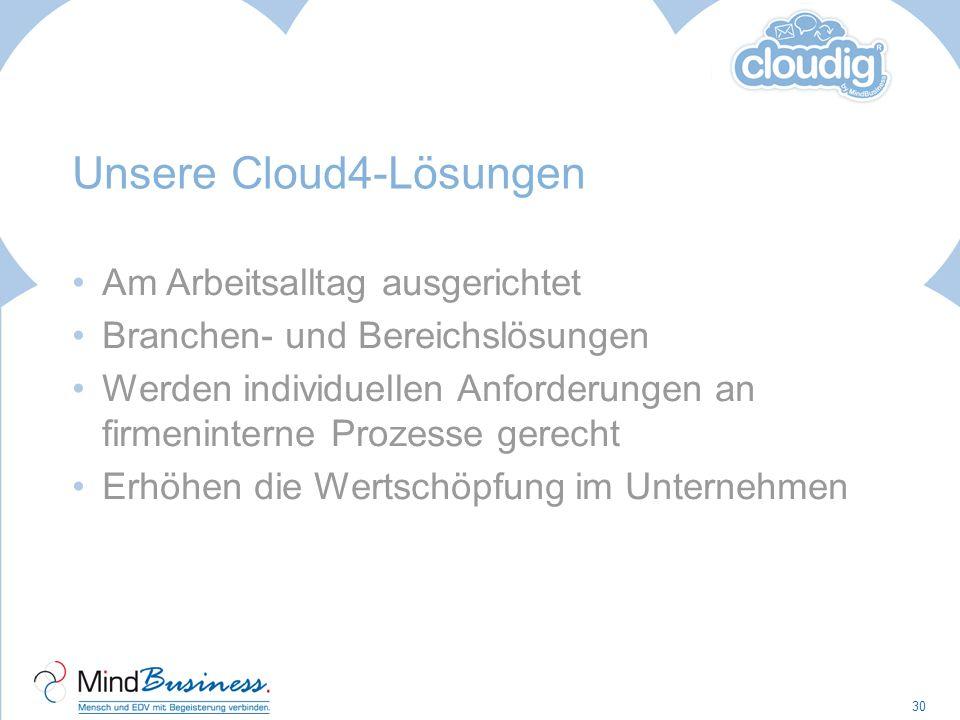 Unsere Cloud4-Lösungen Am Arbeitsalltag ausgerichtet Branchen- und Bereichslösungen Werden individuellen Anforderungen an firmeninterne Prozesse gerec