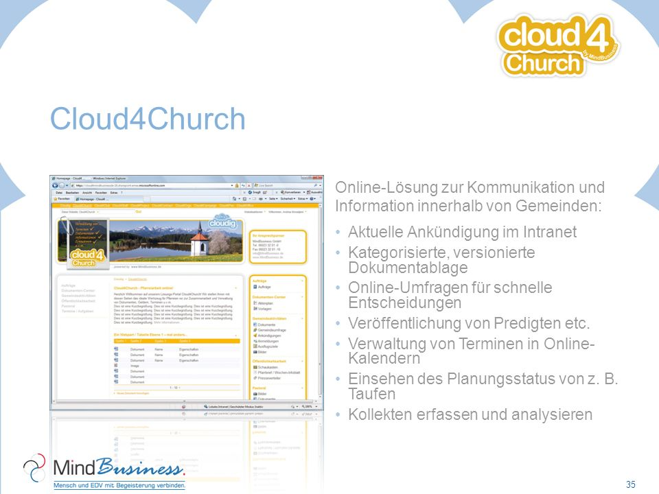 Cloud4Church Online-Lösung zur Kommunikation und Information innerhalb von Gemeinden: Aktuelle Ankündigung im Intranet Kategorisierte, versionierte Do