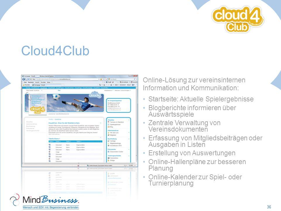 Cloud4Club Online-Lösung zur vereinsinternen Information und Kommunikation: Startseite: Aktuelle Spielergebnisse Blogberichte informieren über Auswärt