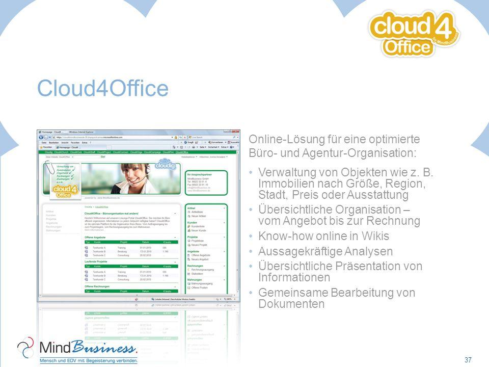 Cloud4Office Online-Lösung für eine optimierte Büro- und Agentur-Organisation: Verwaltung von Objekten wie z. B. Immobilien nach Größe, Region, Stadt,