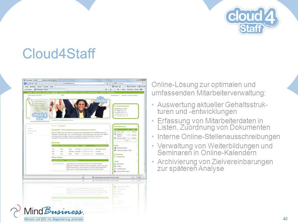 Cloud4Staff Online-Lösung zur optimalen und umfassenden Mitarbeiterverwaltung: Auswertung aktueller Gehaltsstruk- turen und -entwicklungen Erfassung v
