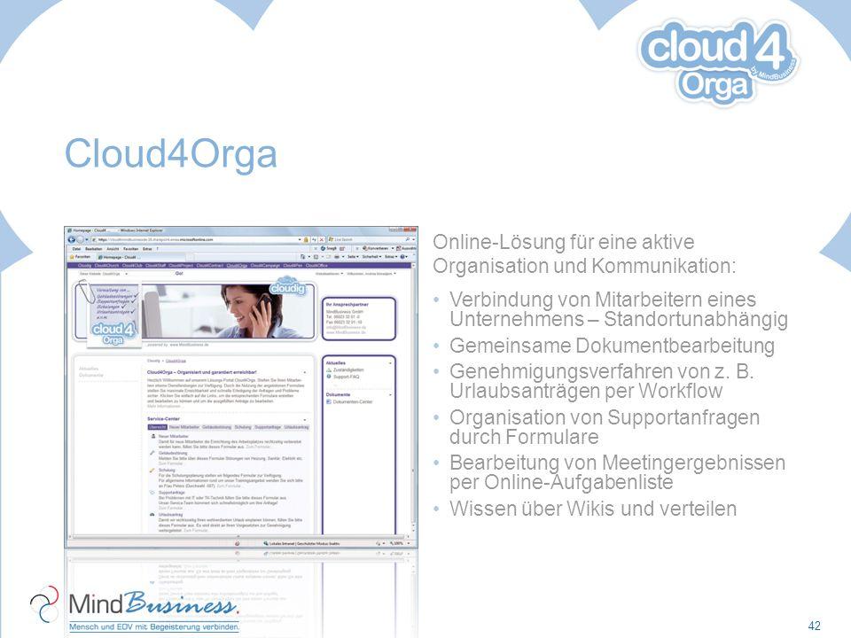 Cloud4Orga Online-Lösung für eine aktive Organisation und Kommunikation: Verbindung von Mitarbeitern eines Unternehmens – Standortunabhängig Gemeinsam