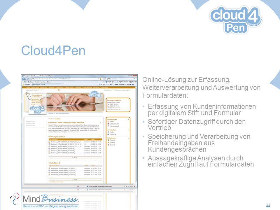 Cloud4Pen Online-Lösung zur Erfassung, Weiterverarbeitung und Auswertung von Formulardaten: Erfassung von Kundeninformationen per digitalem Stift und