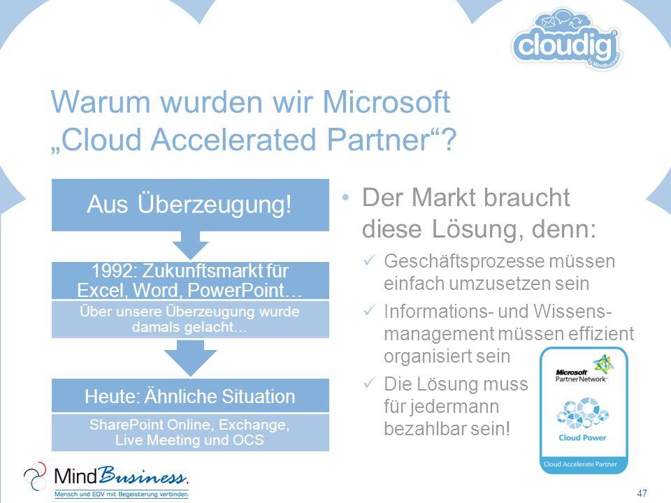 Warum wurden wir Microsoft Cloud Accelerated Partner? Heute: Ähnliche Situation SharePoint Online, Exchange, Live Meeting und OCS 1992: Zukunftsmarkt
