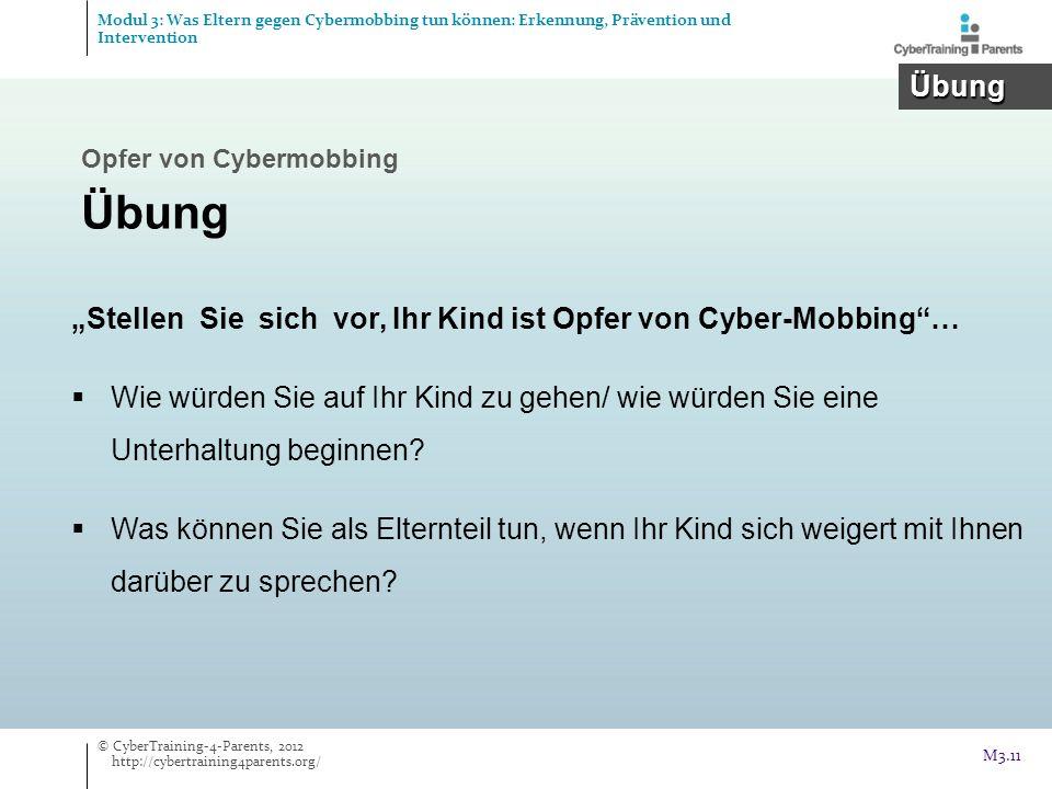 Stellen Sie sich vor, Ihr Kind ist Opfer von Cyber-Mobbing… Wie würden Sie auf Ihr Kind zu gehen/ wie würden Sie eine Unterhaltung beginnen? Was könne