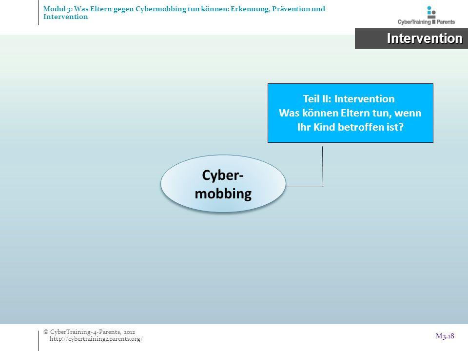 Cyber- mobbing Teil II: Intervention Was können Eltern tun, wenn Ihr Kind betroffen ist? Intervention Intervention © CyberTraining-4-Parents, 2012 htt