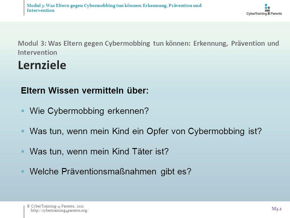M3.2 Eltern Wissen vermitteln über: Wie Cybermobbing erkennen? Was tun, wenn mein Kind ein Opfer von Cybermobbing ist? Was tun, wenn mein Kind Täter i