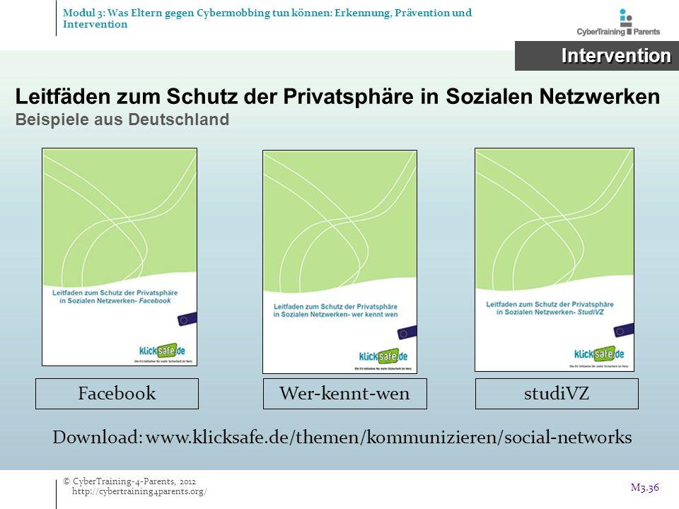 Leitfäden zum Schutz der Privatsphäre in Sozialen Netzwerken Beispiele aus Deutschland FacebookWer-kennt-wenstudiVZ Download: www.klicksafe.de/themen/