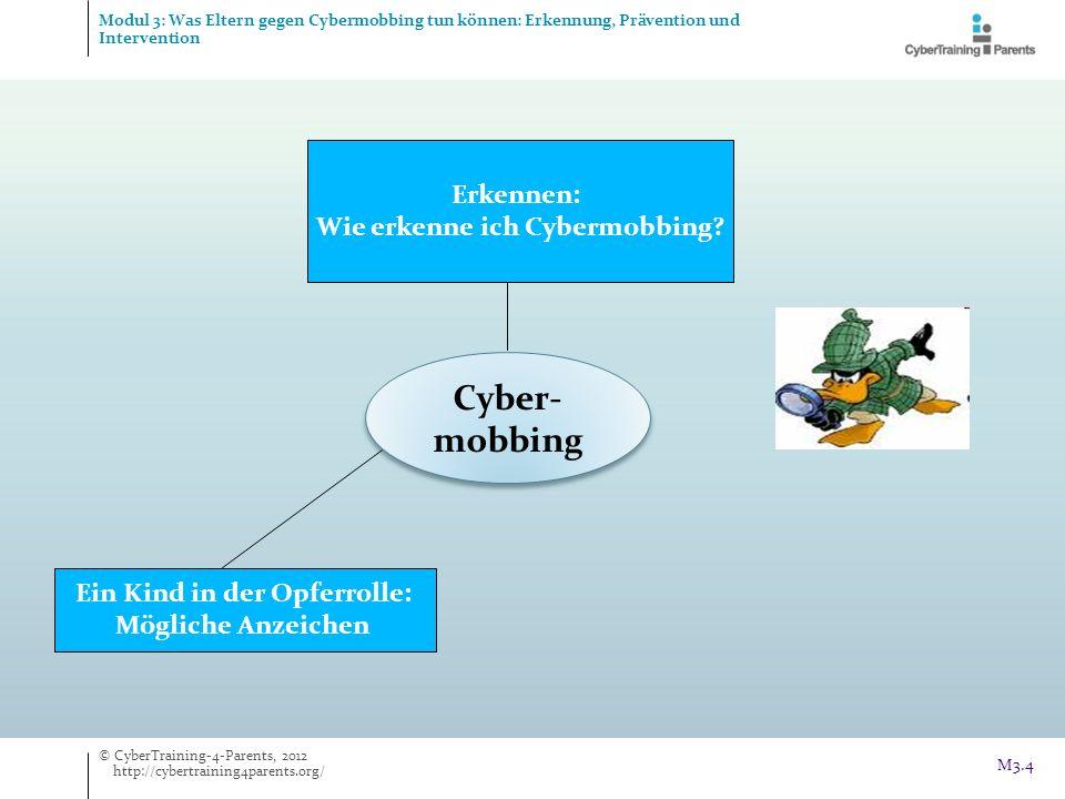 Cyber- mobbing Erkennen: Wie erkenne ich Cybermobbing? Ein Kind in der Opferrolle: Mögliche Anzeichen © CyberTraining-4-Parents, 2012 http://cybertrai