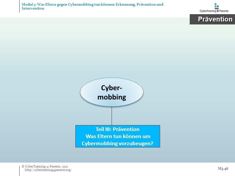 Cyber- mobbing Teil III: Prävention Was Eltern tun können um Cybermobbing vorzubeugen? Prävention Prävention © CyberTraining-4-Parents, 2012 http://cy