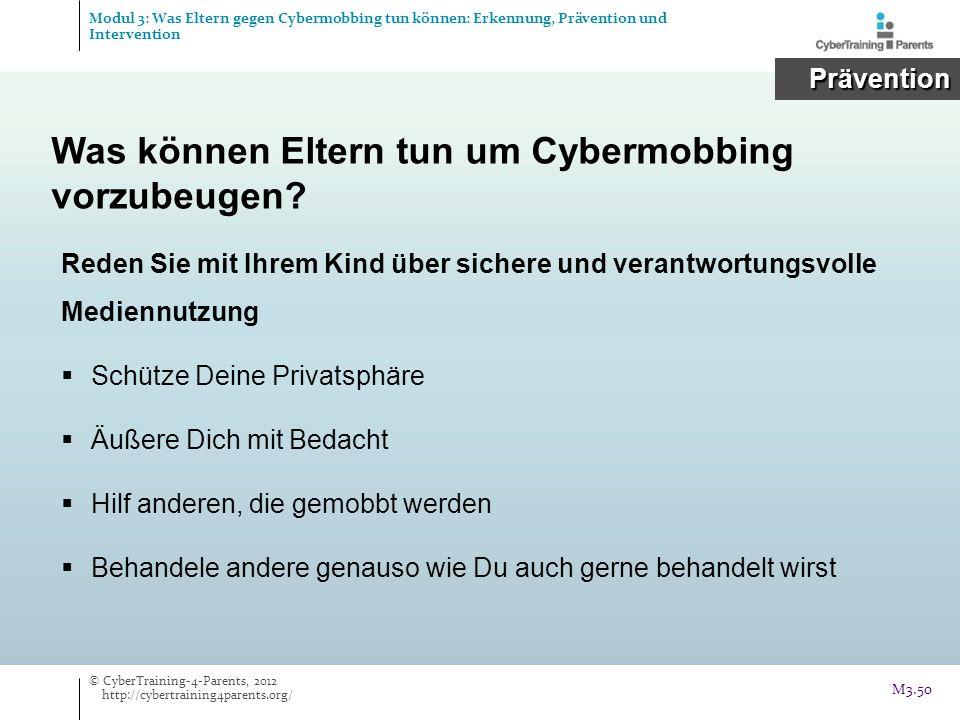 Was können Eltern tun um Cybermobbing vorzubeugen? Reden Sie mit Ihrem Kind über sichere und verantwortungsvolle Mediennutzung Schütze Deine Privatsph