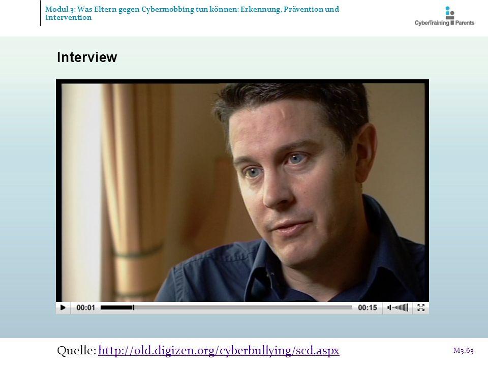 Interview Quelle: http://old.digizen.org/cyberbullying/scd.aspxhttp://old.digizen.org/cyberbullying/scd.aspx M3.63 Modul 3: Was Eltern gegen Cybermobb