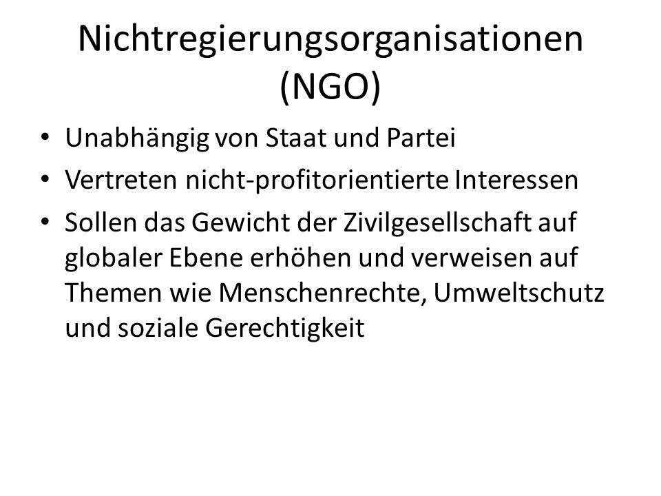 Nichtregierungsorganisationen (NGO) Unabhängig von Staat und Partei Vertreten nicht-profitorientierte Interessen Sollen das Gewicht der Zivilgesellsch