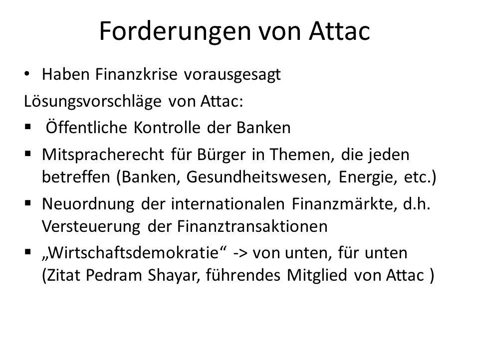 Forderungen von Attac Haben Finanzkrise vorausgesagt Lösungsvorschläge von Attac: Öffentliche Kontrolle der Banken Mitspracherecht für Bürger in Theme
