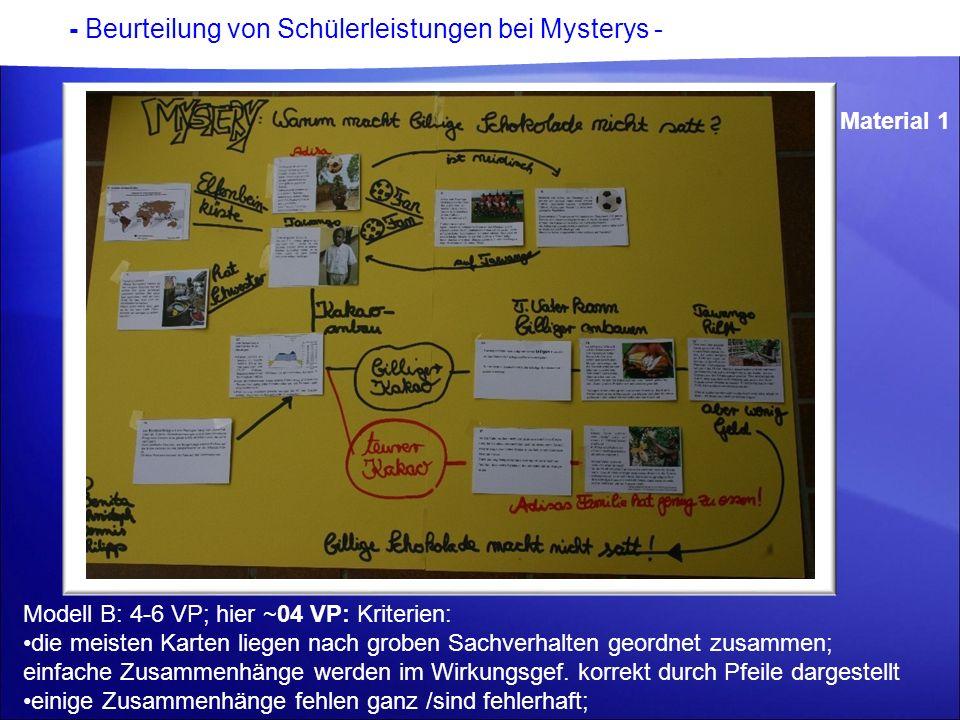 - Beurteilung von Schülerleistungen bei Mysterys - Material 1 Modell B: 4-6 VP; hier ~04 VP: Kriterien: die meisten Karten liegen nach groben Sachverh