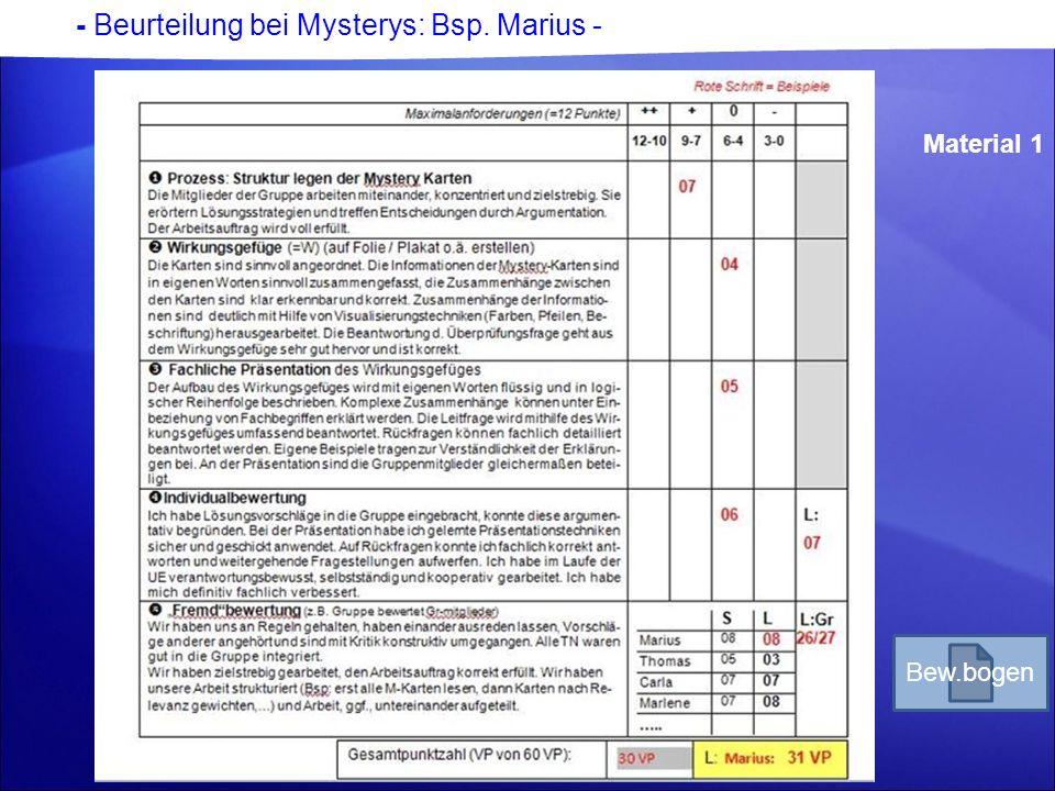 - Beurteilung bei Mysterys: Bsp. Marius - Material 1 Bew.bogen