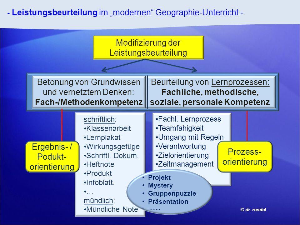 - Leistungsbeurteilung im modernen Geographie-Unterricht - Fachl. Lernprozess Teamfähigkeit Umgang mit Regeln Verantwortung Zielorientierung Zeitmanag
