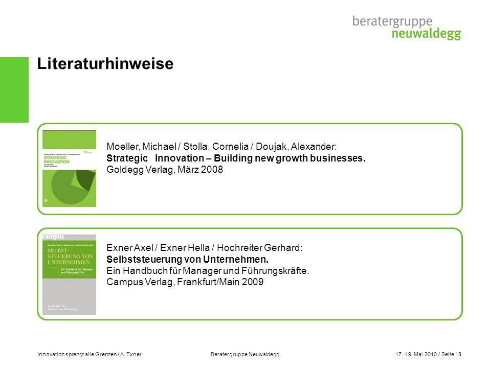 Innovation sprengt alle Grenzen / A. Exner Beratergruppe Neuwaldegg17.-19. Mai 2010 / Seite 18 Literaturhinweise Moeller, Michael / Stolla, Cornelia /