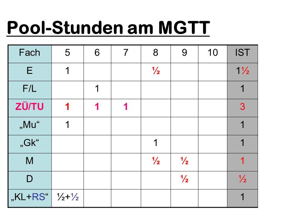 Pool-Stunden am MGTT Fach5678910IST E1½1½1½ F/L11 ZÜ/TU1113 Mu11 Gk11 M½½1 D½½ KL+RS½+½1