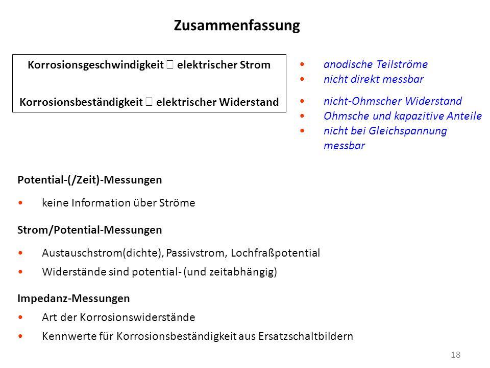 Zusammenfassung 18 Potential-(/Zeit)-Messungen keine Information über Ströme Strom/Potential-Messungen Austauschstrom(dichte), Passivstrom, Lochfraßpo