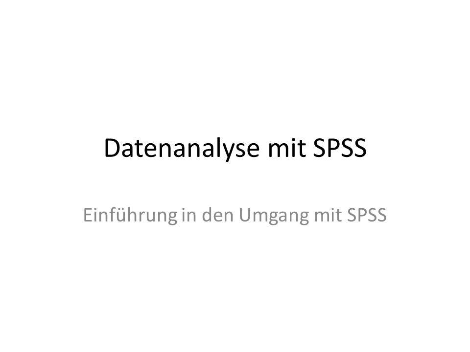 Datenanalyse mit SPSS Einführung in den Umgang mit SPSS