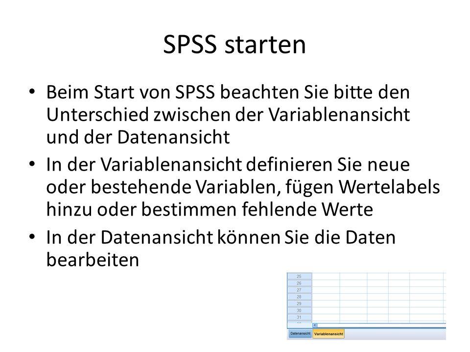 SPSS starten Beim Start von SPSS beachten Sie bitte den Unterschied zwischen der Variablenansicht und der Datenansicht In der Variablenansicht definie