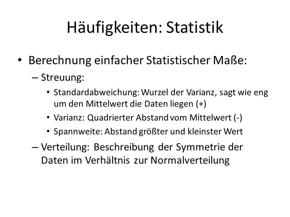 Häufigkeiten: Statistik Berechnung einfacher Statistischer Maße: – Streuung: Standardabweichung: Wurzel der Varianz, sagt wie eng um den Mittelwert di
