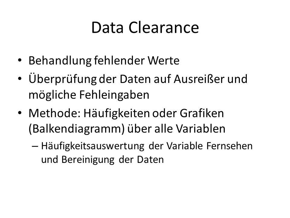 Data Clearance Behandlung fehlender Werte Überprüfung der Daten auf Ausreißer und mögliche Fehleingaben Methode: Häufigkeiten oder Grafiken (Balkendia
