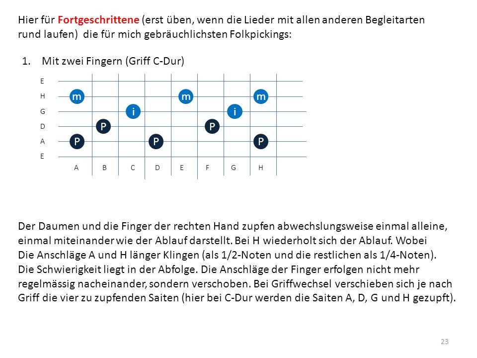 23 E E D G H A P P m i 1. Mit zwei Fingern (Griff C-Dur) m i m A B C D E F G H Der Daumen und die Finger der rechten Hand zupfen abwechslungsweise ein