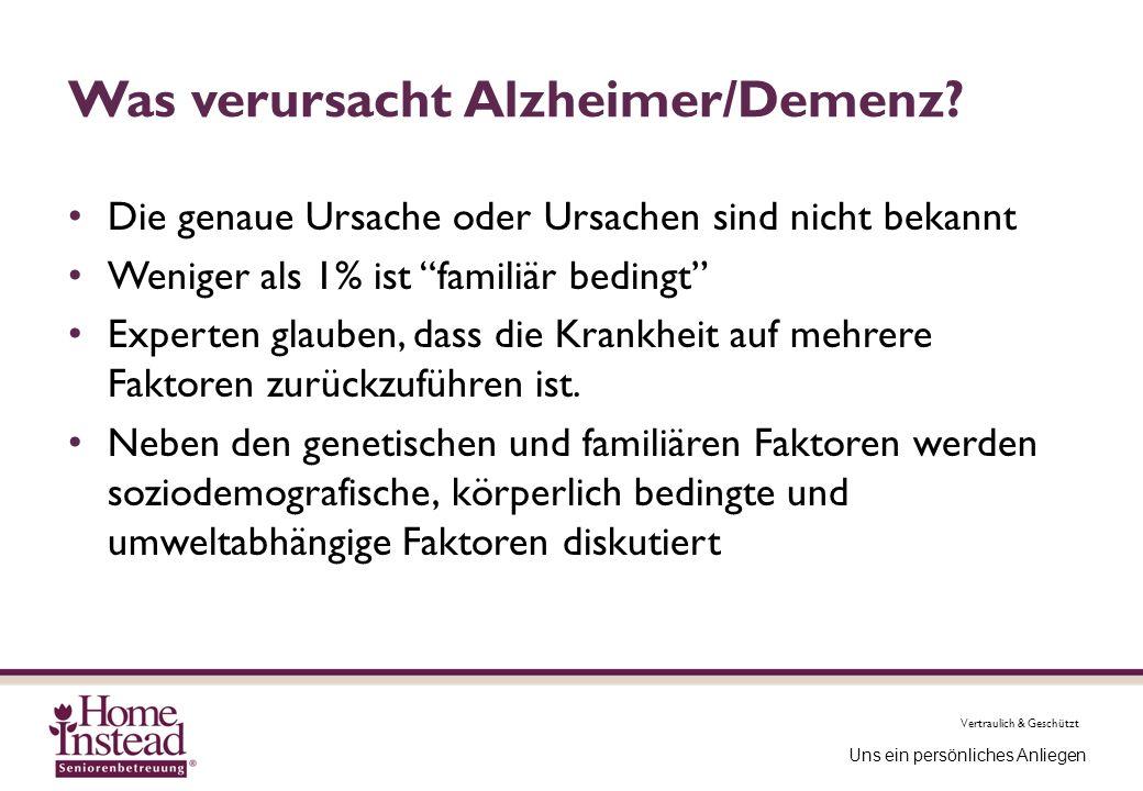 Vertraulich & Geschützt Uns ein persönliches Anliegen Was verursacht Alzheimer/Demenz? Die genaue Ursache oder Ursachen sind nicht bekannt Weniger als