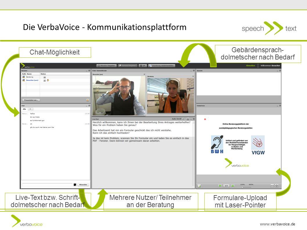 www.verbavoice.de Die VerbaVoice - Kommunikationsplattform Gebärdensprach- dolmetscher nach Bedarf Live-Text bzw. Schrift- dolmetscher nach Bedarf For
